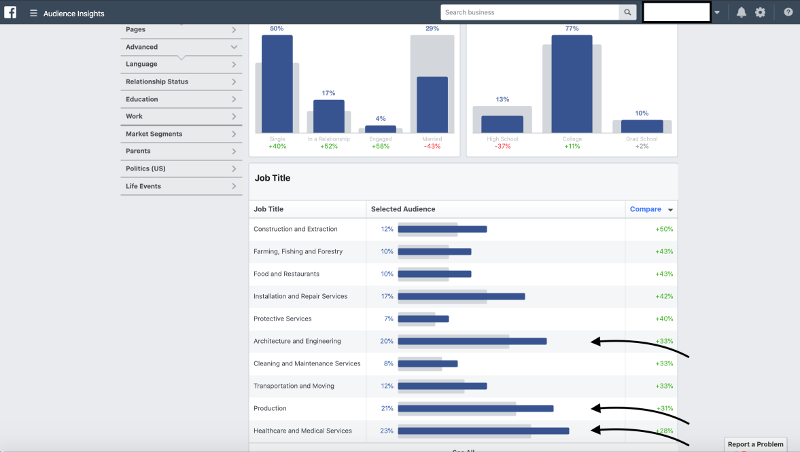 Facebook Audience Insights Occupation Male