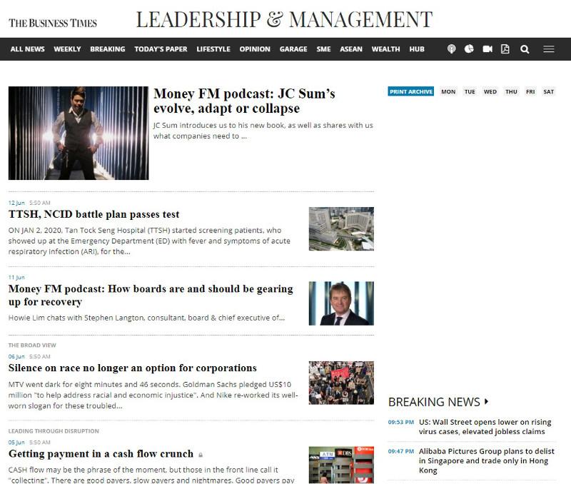 J C Sum The Business Times | 16 Jun 2020