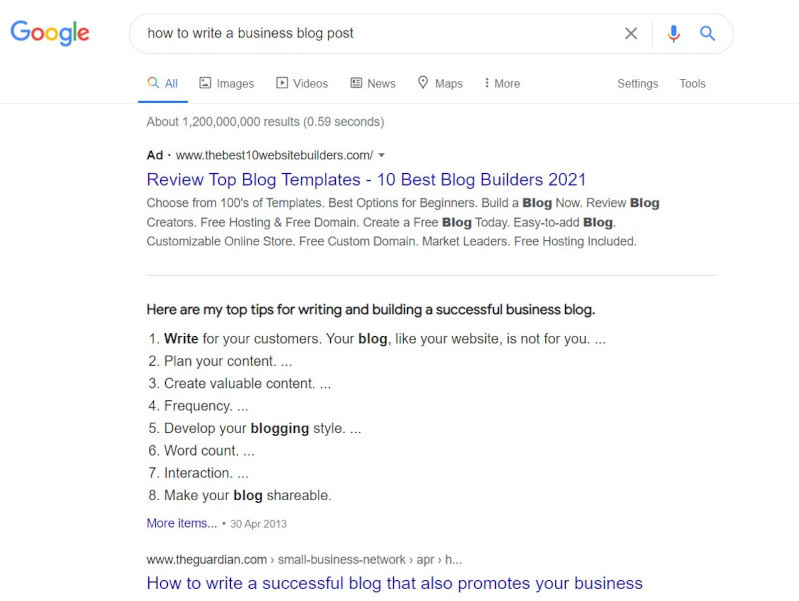 Business Blog Featured Snippet in Google
