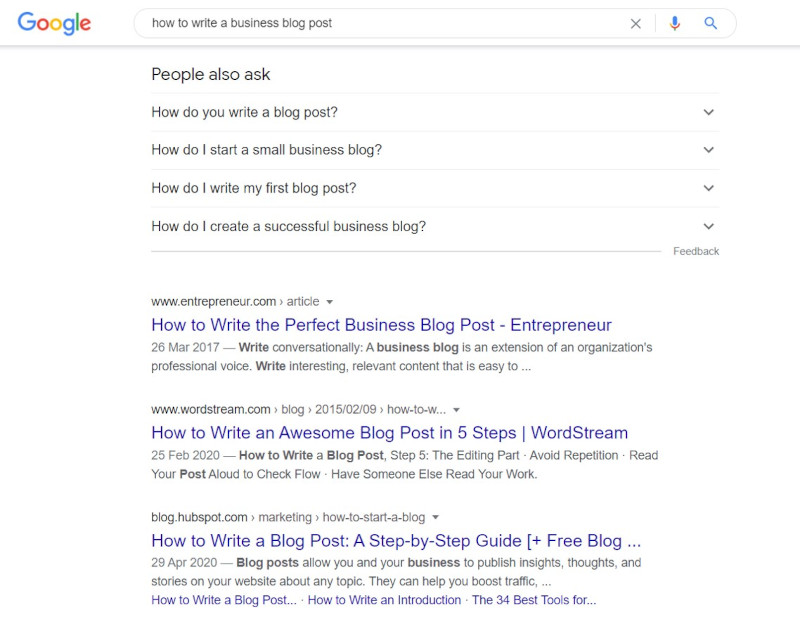 Business Blog Featured Popular Questions on Google