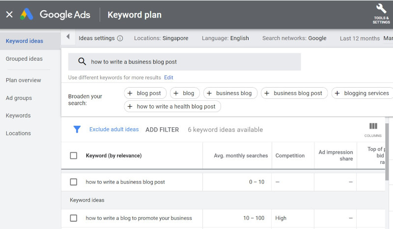 Business Blog Suggestions in Google Keyword Planner