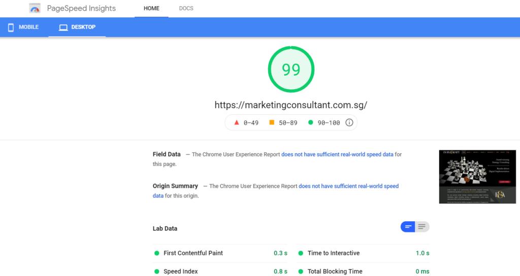 Google Desktop Pagespeed Score
