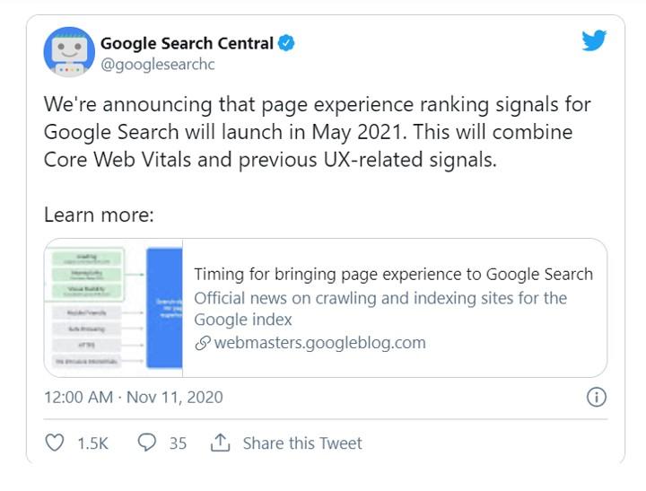 Google Core Web Vitals Update